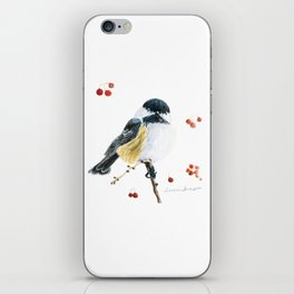 Christmas Chickadee by Teresa Thompson iPhone Skin
