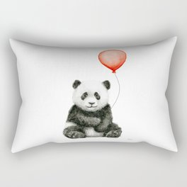 Panda and Red Balloon Baby Animals Watercolor Rectangular Pillow