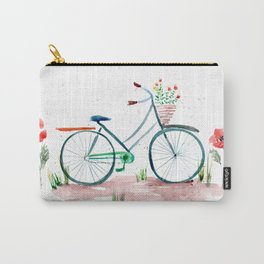 watercolor vintage bike, floral bicycle, summer bike ride Carry-All Pouch