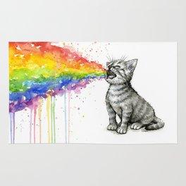 Kitten Puking Rainbow Cat Rainbow Vomit Rug