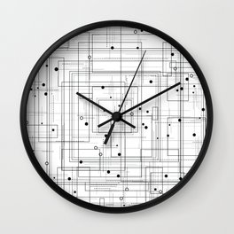 Black and white geometric abstract pattern Wall Clock