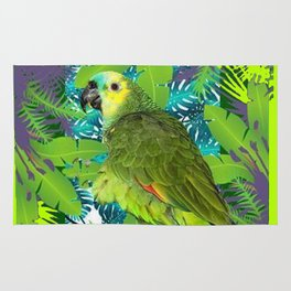 DECORATIVE GREEN PARROT JUNGLE GRAY-GREEN ART Rug