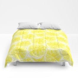 Lemon slices pattern watercolor Comforters