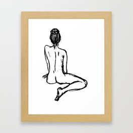 charcoal naked ballerina minimalistic line art Framed Art Print