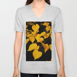 Autumn Foliage Yellow Leaves #decor #buyart #society6 Unisex V-Neck