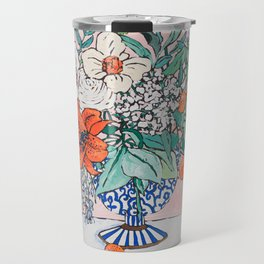 California Summer Bouquet - Oranges and Lily Blossoms in Blue and White Urn Travel Mug