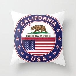California, California t-shirt, California sticker, circle, California flag, white bg Throw Pillow