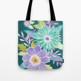 Watercolo Flowers on Teal Tote Bag