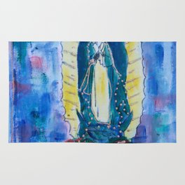 Virgen de guadalupe in blue Rug