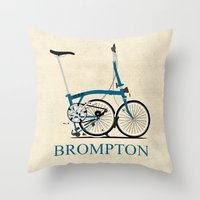 brompton Throw Pillows featuring Brompton Bike by Wyatt Design