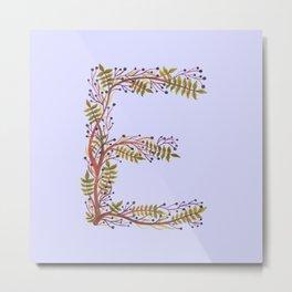 Leafy Letter E Metal Print