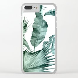 Tropical Palm Leaves Turquoise Green Blue Gradient Clear iPhone Case