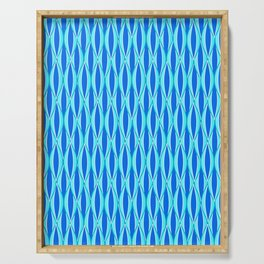 Mid-Century Ribbon Print, Shades of Blue and Aqua Serving Tray