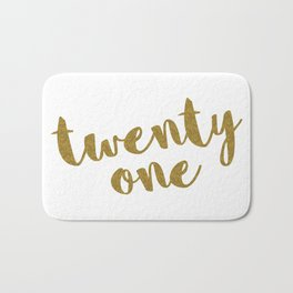 Twenty One / 21 Glitter Birthday Quote Bath Mat