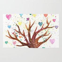 Heart Tree Watercolor Illustration Rug