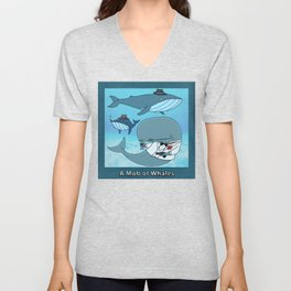 A MOB OF WHALES Unisex V-Neck