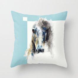 Horse Drawing Alerte V Throw Pillow