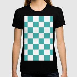 Large Checkered - White and Verdigris T-shirt