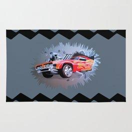 Hot Wheels Car Crashing Through Grey Wall Rug
