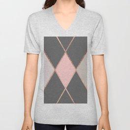 Modern pastel pink gray color block rose gold stripes Unisex V-Neck