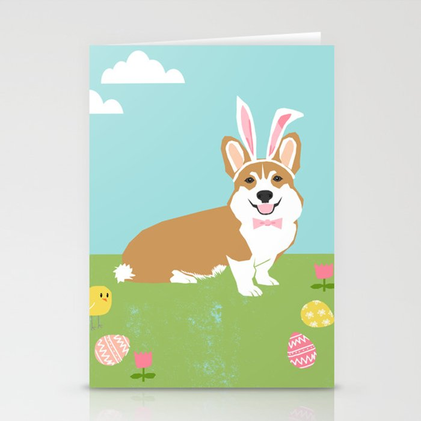 corgi easter bunny spring dog breed welsh corgis gifts stationery