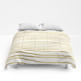 Small simply uneven luxury gold glitter stripes on clear white - horizontal pattern Comforters