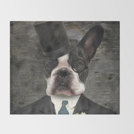 Sir Duncan - Boston Terrier Portrait Throw Blanket