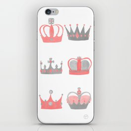 Coral and Grey Crowns iPhone Skin