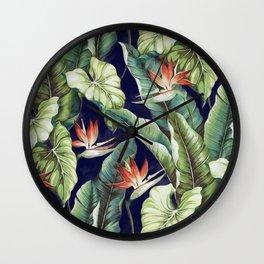 Night tropical garden II Wall Clock