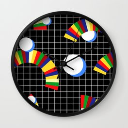 Memphis Grid & Rainbows Wall Clock