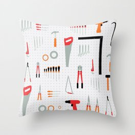 Tool Wall Throw Pillow