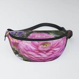 Spring Rosy Ranunculus And Primrose With Violet Violas Fanny Pack