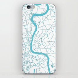 London White on Turquoise Street Map iPhone Skin