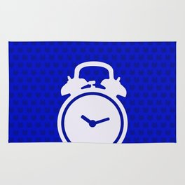 Electric Blue Mornings - with white alarm clock Rug