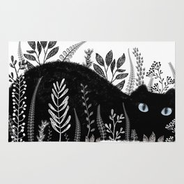 Garden Cat Black And White Rug