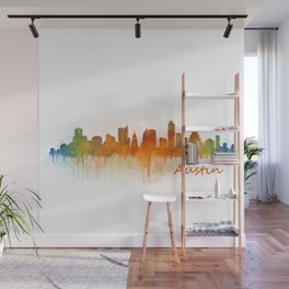 Austin Texas, City Skyline, watercolor  Cityscape Hq v3 Wall Mural