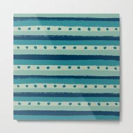 Cool Blue Dots & Stripes Metal Print