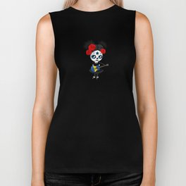 Day of the Dead Girl Playing Barbados Flag Guitar Biker Tank