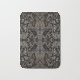 Curves & lotuses, abstract floral pattern, charcoal black, dark brown and taupe Bath Mat