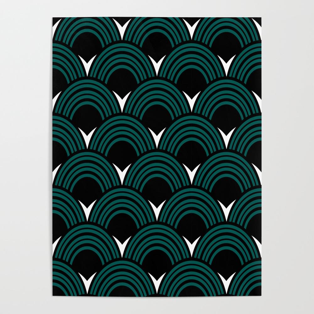 Art Deco Shell Print Poster by Kookiepixel POS7930582