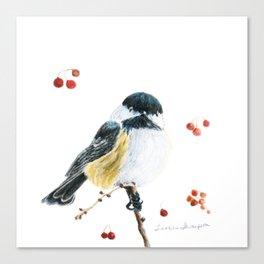 Christmas Chickadee by Teresa Thompson Canvas Print
