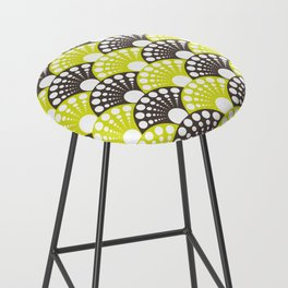 brown and lime art deco inspired fan pattern Bar Stool