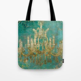 Gold and Peacock Chandelier Tote Bag