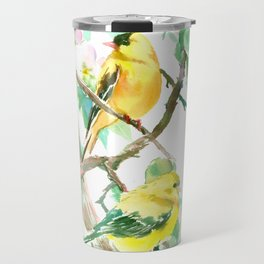 American Goldfinch and Apple Blossom Travel Mug