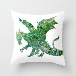 Green Fluid Pour Abstract Art Dragon Image Design Throw Pillow
