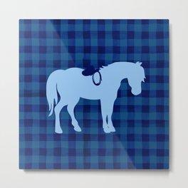 Blue Buffalo Plaid Horse Metal Print