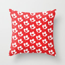Canada Day Maple and Heart Throw Pillow