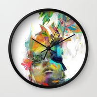 black Wall Clocks featuring Dream Theory by Archan Nair