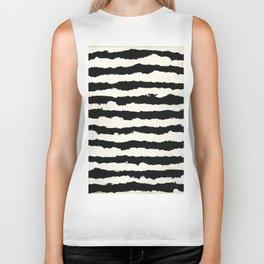 Tribal Stripes Black on Cream Biker Tank