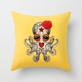 Red Day of the Dead Sugar Skull Baby Octopus Throw Pillow